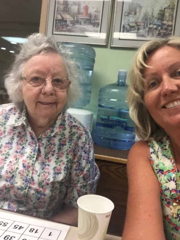 Selfie of Mom and me playing BINGO.